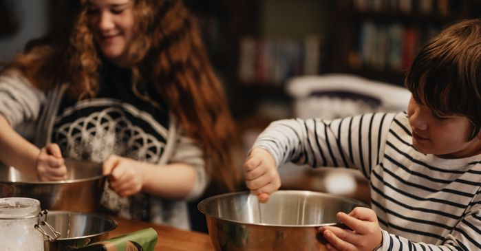 children cooking and baking in the kitchen together