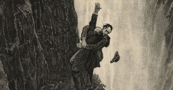 Sherlock Holmes and Moriarty fighting at Reichenbach Falls, by Sidney Paget